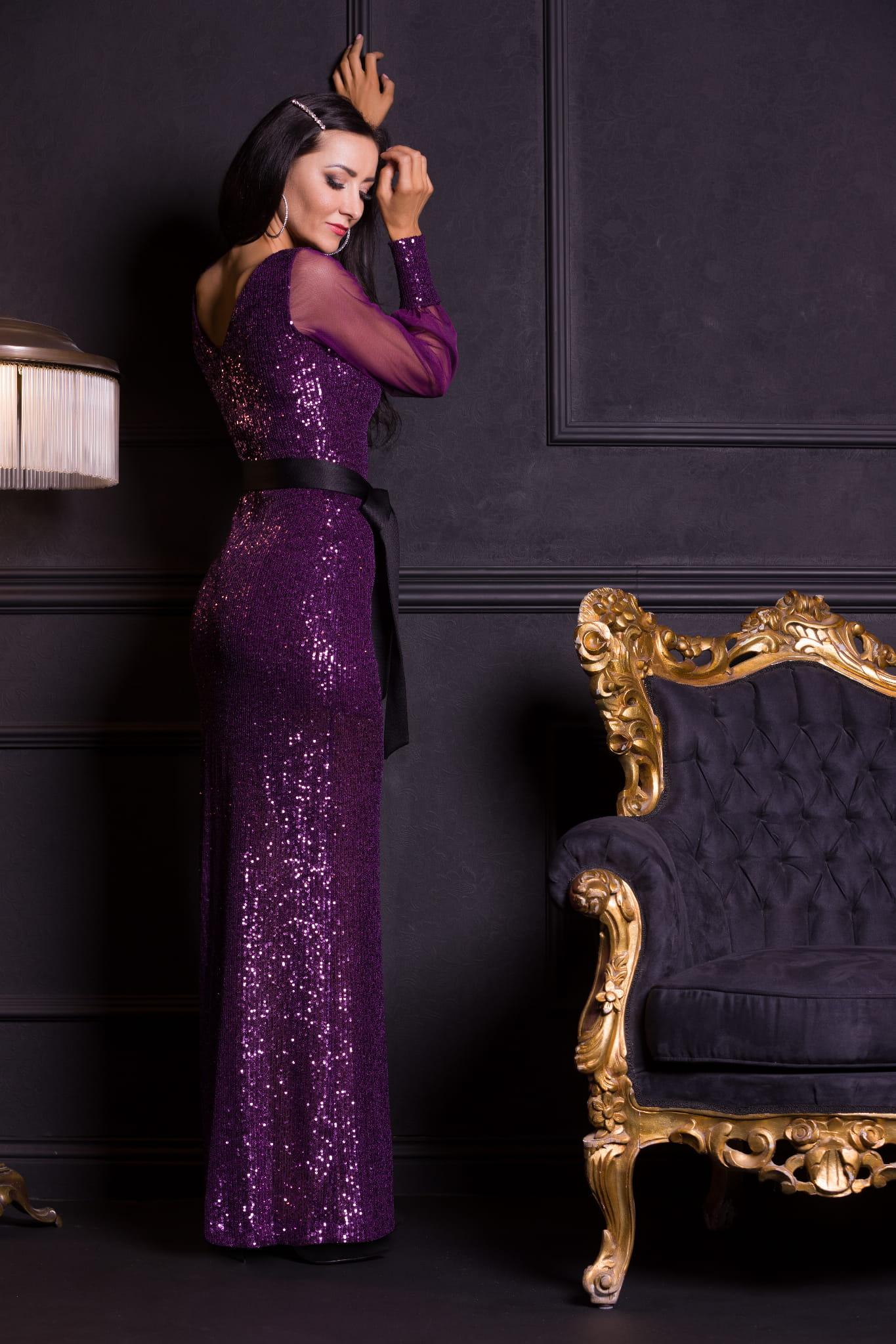 CINDY Sukienka Długa z rękawem Fioletowa